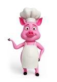 Cuoco unico rosa con la presentazione della posa illustrazione di stock