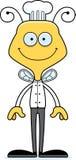 Cuoco unico sorridente Bee del fumetto Fotografia Stock Libera da Diritti