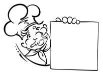 Cuoco unico sorridente con il menu Fotografia Stock Libera da Diritti