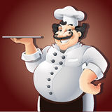 Cuoco unico sorridente con il piatto Fotografie Stock