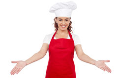 Cuoco unico sorridente della donna che lo accoglie favorevolmente Fotografie Stock Libere da Diritti