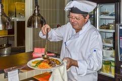 cuoco unico sul lavoro Fotografie Stock Libere da Diritti