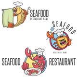 Cuoco unico In Toque della mascotte del fumetto dei frutti di mare Fotografia Stock
