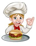 Cuoco unico Woman Holding Burger del personaggio dei cartoni animati Illustrazione Vettoriale