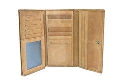 Cuoio marrone del nubuck del portafoglio su un fondo bianco Fotografia Stock