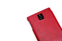 Cuoio rosso, macchina fotografica del telefono cellulare Fotografia Stock