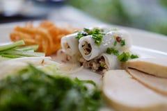 Cuon de Banh, rolos cozinhados vietnamita do arroz fotografia de stock royalty free