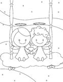 Cuople of angels on a cloud swing. Black and white illustration about a couple of cute little angel boy and girl seated on a cloud swing Royalty Free Stock Photography
