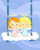 Cuople of angels on a cloud swing. Illustration about a couple of cute little angel boy and girl seated on a cloud swing Stock Images