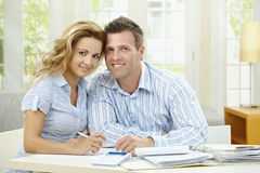Cuople planning at home Royalty Free Stock Photos