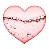 Cuore acquoso rosa di amore Fotografie Stock Libere da Diritti
