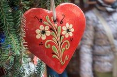Cuore alsaziano tradizionale per le decorazioni di natale Fotografia Stock Libera da Diritti