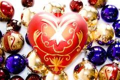 Cuore & ornamenti di vetro Fotografia Stock