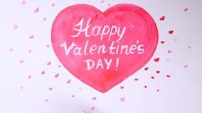 Cuore attinto la carta Timelapse Concetto felice di giorno di biglietti di S. Valentino illustrazione vettoriale