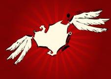 Cuore beige di Grunge su priorità bassa rossa Immagine Stock Libera da Diritti