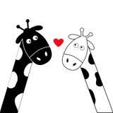 Cuore bianco del ragazzo e della ragazza della giraffa del nero sveglio del fumetto Coppie di Camelopard alla data Serie di carat Fotografia Stock