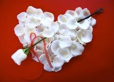 Cuore bianco di giorno dei biglietti di S. Valentino con la freccia della Rosa Immagine Stock