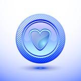Cuore blu del bottone Immagini Stock