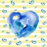 Cuore blu dell'acquerello su fondo a strisce Fotografia Stock