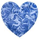 Cuore blu di forma del biglietto di S. Valentino con i turbinii di marmo blu leggeri e profondi royalty illustrazione gratis