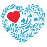 Cuore blu di vettore con la foglia ed il fiore Fotografia Stock Libera da Diritti