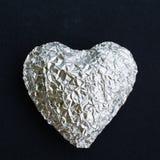 Cuore brillante d'argento Fotografia Stock