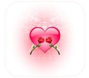 Cuore brillante e due rose Fotografia Stock