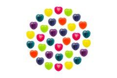 Cuore Candy messo nella forma completa del cerchio per il biglietto di S. Valentino Immagine Stock Libera da Diritti