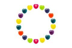 Cuore Candy messo nella forma del cerchio per il biglietto di S. Valentino Immagine Stock