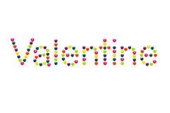Cuore Candy messo in Valentine Shape per il biglietto di S. Valentino Immagine Stock