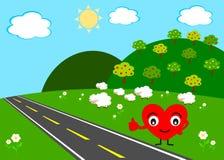 Cuore che fa facendo auto-stop prova di trovare amore reale Immagine Stock Libera da Diritti