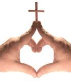 Cuore, chiesa, mani trasversali isolate su bianco immagine stock