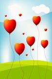 Cuore come baloon nella priorità bassa del cielo illustrazione vettoriale