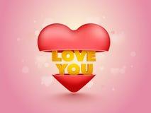 Cuore con amore che mandate un sms a per il giorno del ` s del biglietto di S. Valentino Immagine Stock