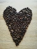 Cuore con caffè sullo scrittorio Immagine Stock Libera da Diritti
