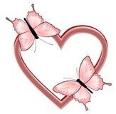 Cuore con due farfalle illustrazione vettoriale