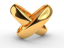 Cuore con gli anelli su bianco Fotografia Stock Libera da Diritti