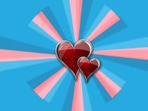 Cuore con i bordi del metallo sul pinwheel del blue_pink Fotografia Stock