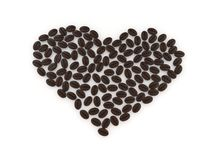 Cuore con i chicchi di caffè Immagini Stock Libere da Diritti