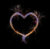Cuore con i fuochi d'artificio Fotografie Stock Libere da Diritti