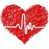 Cuore con il cardiogram Fotografia Stock