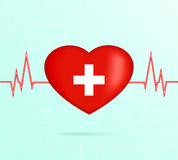 Cuore con il cardiogram Fotografia Stock Libera da Diritti