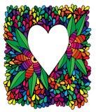 Cuore con il fiore nel telaio variopinto astratto Immagini Stock
