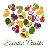 Cuore con il manifesto esotico della frutta illustrazione di stock