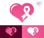 Icona rosa di Awarness del cuore del nastro Fotografie Stock Libere da Diritti