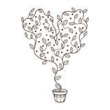 Cuore con la crescita di fiori e delle foglie in un vaso Fotografia Stock