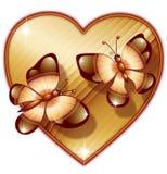 Cuore con la farfalla due Fotografia Stock Libera da Diritti
