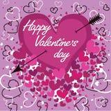 Cuore con la freccia. Giorno di biglietti di S. Valentino felice. Vettore Immagine Stock