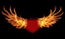 Cuore con le ali del fuoco Fotografie Stock