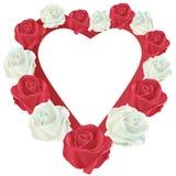Cuore con le rose bianche e rosse Fotografie Stock Libere da Diritti